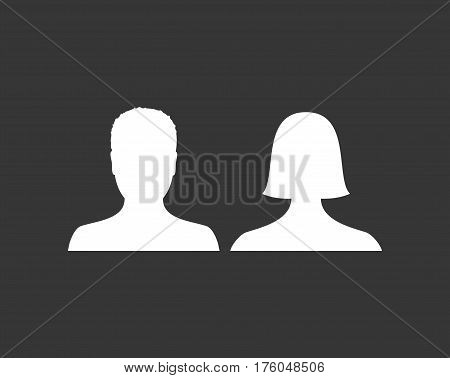 Default male and female avatar profile picture icon. Man and woman photo placeholder. Vector Illustration