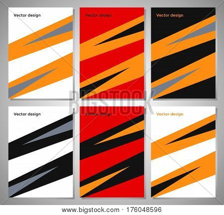 Set of posters with flat geometric pattern. Collection of fashionable covers for business.