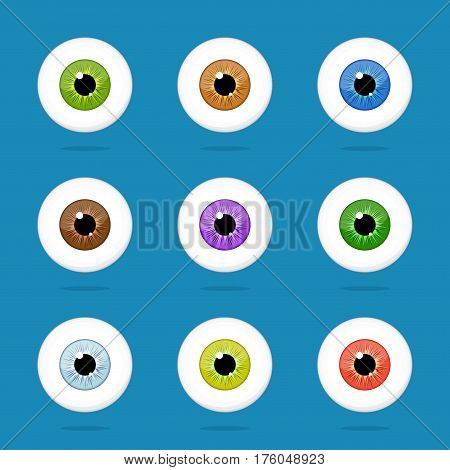 Human eyes set isolated on blue background. Colorful eyeballs iris pupils vector Illustration