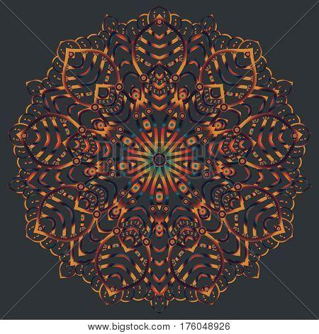Ethnic mandala design, vector Eastern pattern, round symmetrical ornament