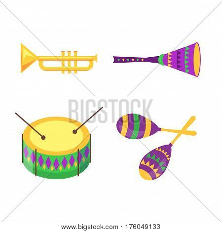 Equipment collection for Mardi Gras celebration isolated on white. Golden pipe, colorful drum with sticks and maracas traditional elements for festivals and carnivals that make music and noise