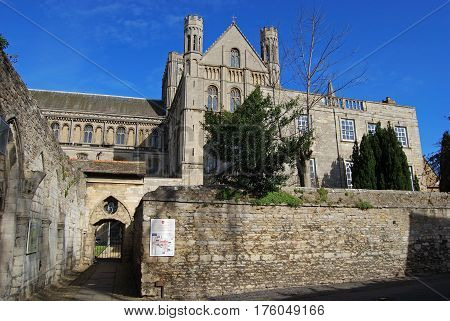 PETERBOROUGH, UNITED KINGDOM - MARCH 14, 2008 - View of Peterborough Cathedral cloisters (Cathedral Church of St. Peter St. Paul and St. Andrew) Peterborough Cambridgeshire England UK Europe, March 14, 2008.