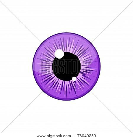 Human violet eyeball iris pupil isolated on white background. Eye Vector Illustration