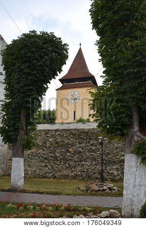 Fortified medieval church Ghimbav, Transylvania. The town was first mentioned in a letter written in 1420 by King Sigismund of Luxembourg