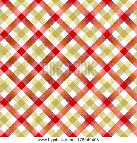White red beige check plaid fabric texture seamless pattern. Vector illustration. EPS 10.