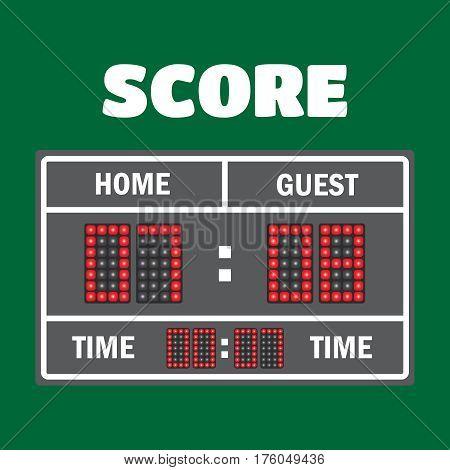 Sport illustration scoreboard. Score game display digital time information result