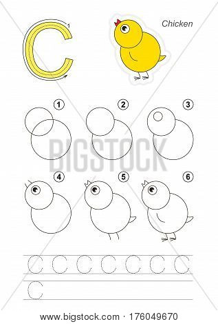 Vector illustrated alphabet with kid educational games to learn handwriting with easy game level for preschool children, kid drawing tutorial for letter C. Chicken.