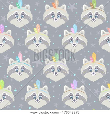 Seamless pattern with character cute and funny raccoon with feathers in ethnic style. Vector illustration. Cool stylish gray wallpaper
