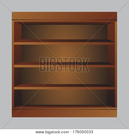 Wooden book shelf. Book shelf vector illustraton