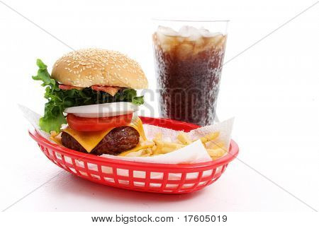 Meal of a cheeseburger, fries, and a soda