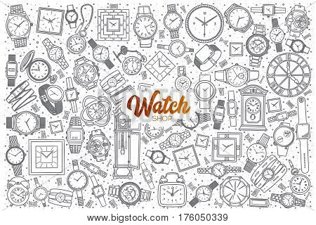 Hand drawn watch shop doodle set background with orange lettering in vector