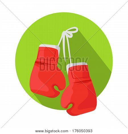 Boxing icon. Classic red boxing gloves hanging on a nail on green circle flat vector illustration isolated on white background. Sport inventory.  Fighting spirit. For games, sport stores app, web, design