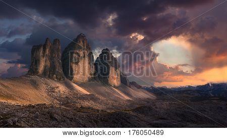 Beautiful landscape panorama of Tre Cime di Lavaredo or Drei Zinnen - Dolomites mountain range Italy.
