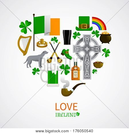 Ireland national traditions icons composition with shamrock leprechaun whisky harp irish terrier vector illustration
