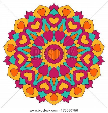 Colored mandala with hearts. Round symmetrical ornaments isolated on a white background