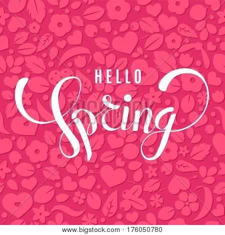 Vector Hello Spring background with hearts and flowers. Creative pattern design for gift wrapping paper party invitation greeting card wallpaper or web foreground