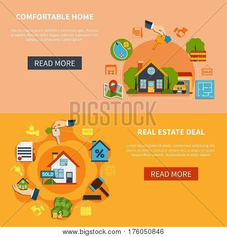 Real estate deal and search of comfortable home horizontal banners set isolated on colorful backgrounds flat vector illustration