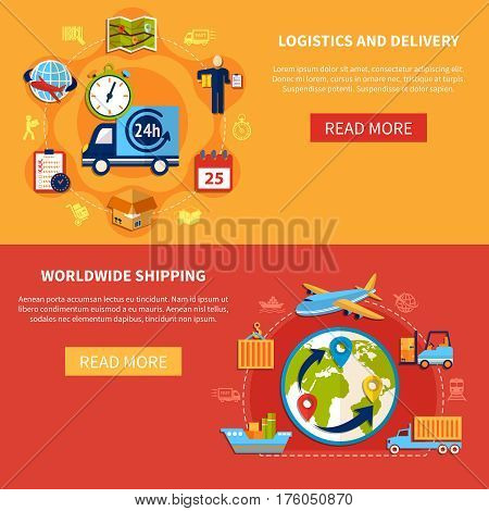 Logistic isolated banner set composition with descriptions about worldwide shipping and delivery vector illustration