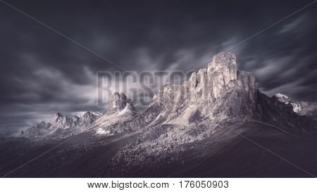Mystical landscape photo in long exposure near Giau pass - Dolomites mountain range in South Tyrlol Alps Italy.