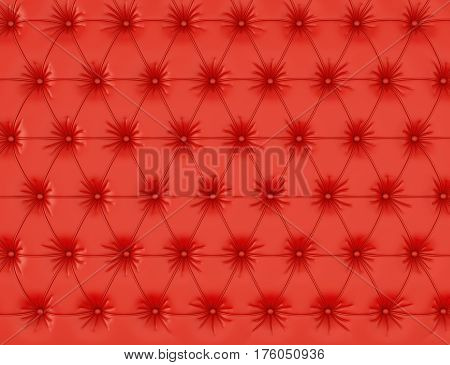 Red leather background with buttons. 3d rendering