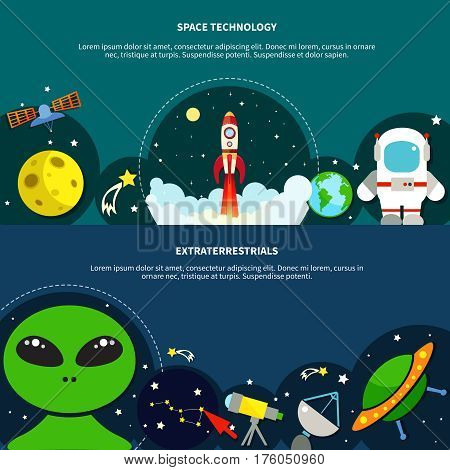 Space technology horizontal banners set with extraterrestrial symbols flat isolated vector illustration