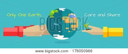 World environment day. Only one earth. Care and share. Two human hand holding planet on blue background. Concept design for banner, greeting card, poster. Flat design vector illustration.