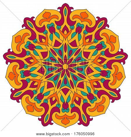 Color mandala vector ethnic pattern, round symmetrical decoration