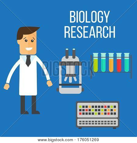 Biology and medicine research set cartoon illustration