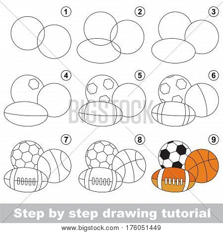 Funny drawing kid school, the vector kid educational game to develop drawing skill with easy game level for preschool kids education, drawing tutorial for Balls.