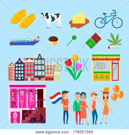 Amsterdam stereotype set with cartoon images of cityscape houses tulips bordello cannabis coffeeshops and people characters vector illustration