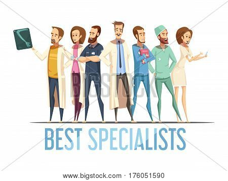 Best medical specialists design with smiling doctors and nurses in various poses cartoon retro style vector illustration