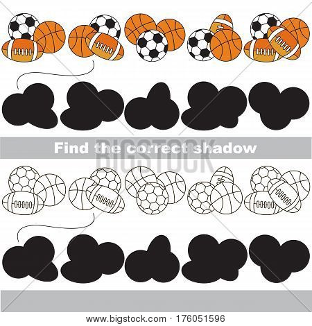 Balls set to find the correct shadow, the matching educational game to compare and connect objects and their true shadows, kid logic game with simple game level for preschool kids education.