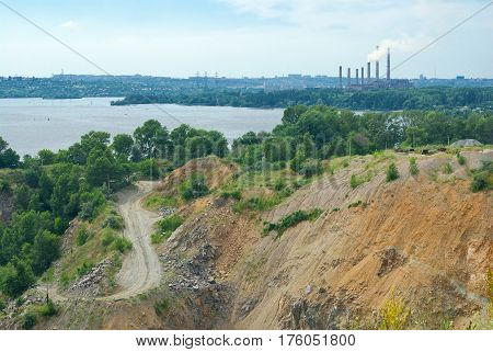 Typical industrial landscape in Ukraine - quarry beside big river Dnepr.