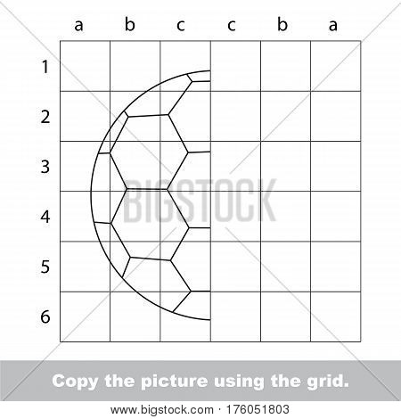 Vector kid educational game with easy game level for preschool kids education, finish the simmetry picture using grid sells, the funny drawing kid school, the drawing tutorial for half Football Ball