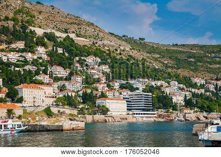 beautiful view of the houses near Dubrovnik seaside South Dalmatia Croatia