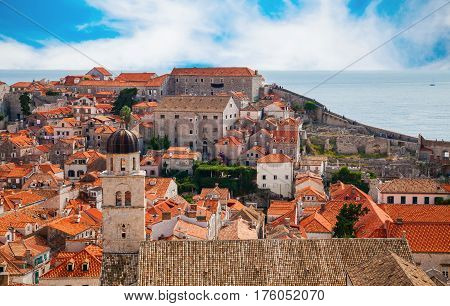 beautiful view of the part of Dubrovnik Old Town from its City Walls Croatia