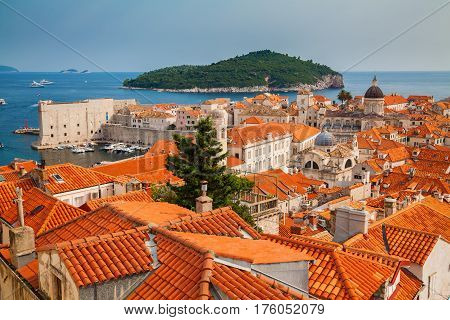 architecture of Dubrovnik Old town and Lokrum island South Dalmatia Croatia