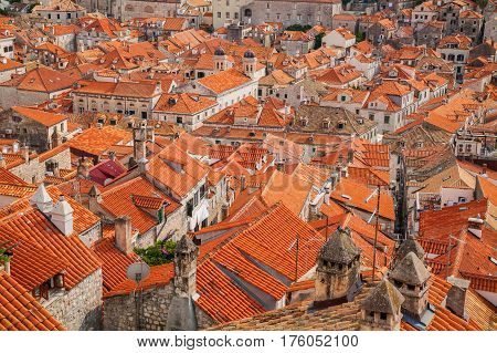 red tiled roofs in the Old town of Dubrovnik South Dalmatia Croatia