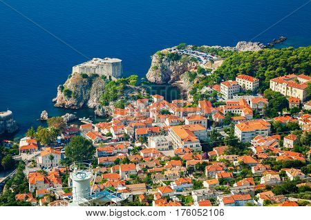 aerial view of the part of Dubrovnik Old town with Fort Lovrijenac South Dalmatia Croatia