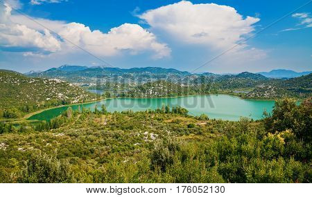 beautiful landscape with Bacinska Lakes surrounded by mountains Makarska Riviera Croatia
