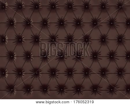 Brown leather background with buttons. 3d rendering