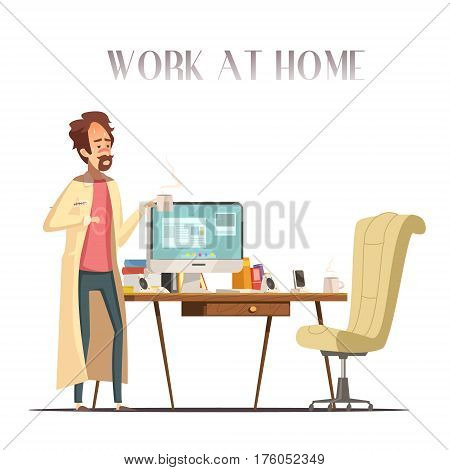 Sick feverish man with thermometer works at home laptop in pajama and bathrobe retro cartoon vector illustration