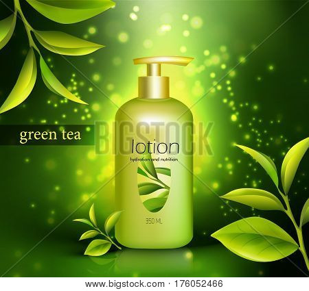Lotion in plastic packaging with dispenser and green tea leaves on glowing dark background 3d vector illustration