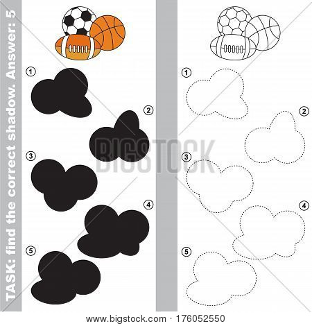Balls with different shadows to find the correct one, compare and connect object with it true shadow, the educational kid game with simple level of difficulty, visual game for preschool kids education