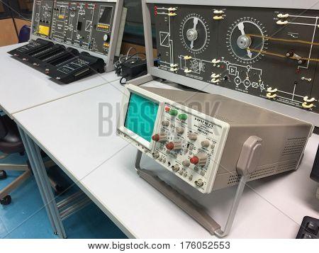 BANGKOK THAILAND 8 MARCH 2017: Oscilloscope on table laboratory in King Mongkut's University of Technology North Bangkok (KMUTNB) Thailand