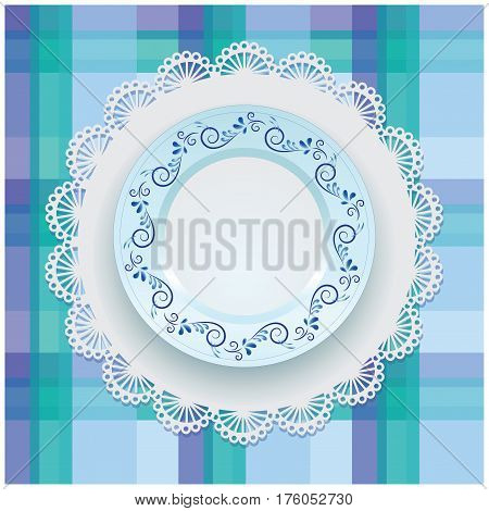 Gzhel. Plate ornament. White porcelain with blue pattern round the border. Russian style Gzhel. Lace napkin and checkered background.