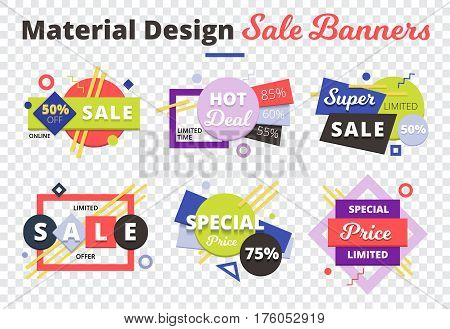 Sale transparent icon set with material design sale banners description on top vector illustration