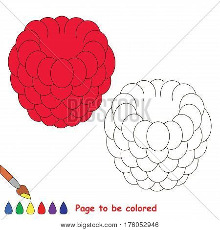Educational worksheet to be colored by sample. Easy educational paint game for preschool kids. Simple kid coloring page with Raspberry.