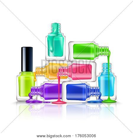 Realistic composition of colorful flourescent nail polishes on white background vector illustration