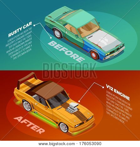 Car appearance and performance tuning 2 posters set with before and after vehicles images description vector illustration